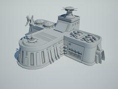 Futuristic Sci Fi Building 8 3D Model- 3D Model Futuristic Sci Fi Building 8 by AlekRazum  v-ray materials - #3D_model #Buildings,#Fantasy