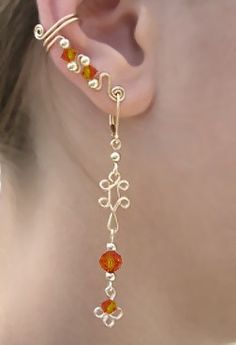 Ear Wrap with  Small Spiral and  Lever Back  Hanging Earring