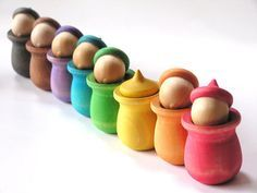 Peek-a-Boo Acorn Pots  Made of wood