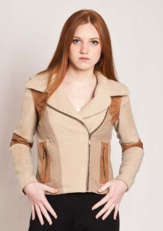 Handmade with love felted jacket with brown detail $300
