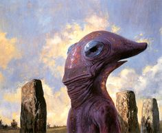 """A nonplussed-looking alien by Bob Eggleton. """"An interior illustration in the September 1997 issue of Science Fiction Age magazine for the Robert Silverberg story 'Beauty in the Night',"""" apparently."""