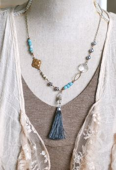 Bohemian beaded layering grey tassel Winter by tiedupmemories