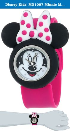 Disney Kids' MN1097 Minnie Mouse Watch with Pink Rubber Band. Watch with Minnie Mouse-shape case and pink rubber band. Quartz movement with analog display. Protective glass crystal dial window. Features slap-on design. Not water resistant.