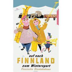 auf nach Finnland zum Wintersport Flinnishe Staatsbahen (On to Finland for winter sports - Finnish State Railways) Rolf Christianson 1950
