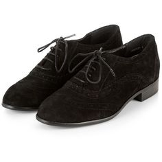 Black Suede Lace Up Brogues ($44) ❤ liked on Polyvore featuring shoes, oxfords, wingtip oxfords, black shoes, black lace up shoes, black lace up oxfords and suede oxfords
