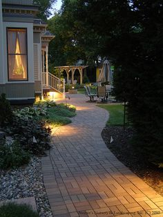 31 Landscape Lighting Ideas Walkways to Beautify Your Front Yard. Prior to you invest in any type of landscape lighting, ask yourself what your functions Backyard Lighting, Outdoor Lighting, Lighting Ideas, Lighting Design, Outdoor Landscaping, Outdoor Gardens, Paver Sidewalk, Jardin Decor, Brick Walkway