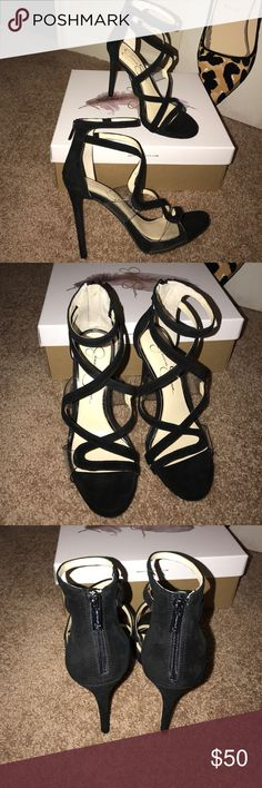 Jessica Simpson Roelyn Sandals Brand new, never worn...very cute sandal with black suede and clear straps... Jessica Simpson Shoes Heels