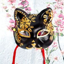 Hand-Painted Half Face Japanese Fox Mask Kitsune Cosplay Masquerade Halloween