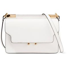 Marni Trunk micro leather shoulder bag (€905) ❤ liked on Polyvore featuring bags, handbags, shoulder bags, leather handbags, crossbody shoulder bag, white shoulder bag, white crossbody purse and leather cross body purse