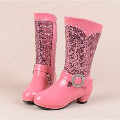 Rose Pink Patent Leather Sequin Low Heel Girls Pageant Dress High Boots SKU-133307