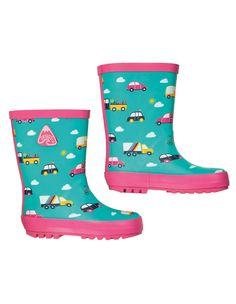 Cizme de ploaie Frugi fabricate din cauciuc natural, model mașini și curcubee. Nu conțin PVC și au talpă anti-alunecare.   Modelul disponibil se poate asorta cu ușurință cu pantalonii și cu jacheta impermeabile. Colecția Frugi o găsești aici. Rubber Rain Boots, Pink, Aqua, Model, Collection, Shoes, Fashion, Natural Rubber, Welly Boots