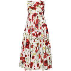 Dolce & Gabbana Poppy Print Poplin Dress ($2,558) ❤ liked on Polyvore featuring dresses, zip back dress, white sleeveless dress, white empire waist dress, embroidery dresses and poppy dress