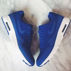 """Nike Air Max 1 Ultra Moire Royal Blue Sneakers The Nike Air Max 1 Ultra Moire has minimalist upper and slimmed-down outsole—that combine to create an incredibly light, flexible and comfortable shoe. New in box. Color is called """" Game Royal"""". Women's 7.5, True to size. NO TRADES/PAYPAL. Nike Shoes Sneakers"""