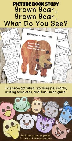 """TONS of projects and worksheets to complement your study of """"Brown Bear, Brown Bear, What Do You See?"""" 23 pages of extension activities including mask templates for each character. Bears Preschool, Preschool Colors, Preschool Activities, Brown Bear Activities, Fall Classroom Decorations, Tot School, Summer School, Bear Crafts, Bear Theme"""