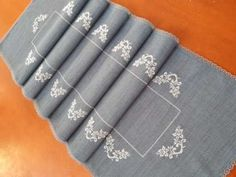 Embroidered Christmas Blue Table Runner Napkin ,Cross Stitch Table Runner Gift For Noel,Christmas Guest Table Decor,Cross Stitch Tablecloth - Cross Stitch Designs, Cross Stitch Patterns, Rosa Panther, Wedding Table Linens, Wedding Decor, Gifts For Runners, Crochet Amigurumi, Gifts For Your Mom, Linen Tablecloth