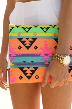 Mexican Envelope Clutch | bright Aztec pattern | Sabo Skirt