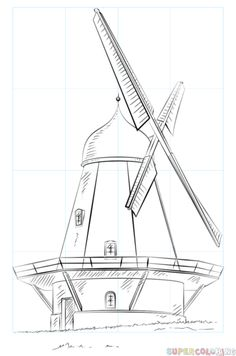 How to draw a windmill step by step. Drawing tutorials for kids and beginners.