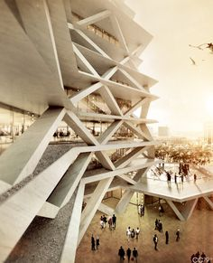 One Airport Square - Accra, Ghana by cristian chierici, via Behance I thought initially this a design for an interesting parking structure. Futuristic Architecture, Contemporary Architecture, Art And Architecture, Amazing Architecture, Airport Design, Architecture Visualization, Accra, Deco Design, Modern Buildings