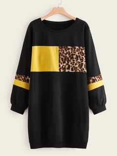 To find out about the Plus Leopard Print Colorblock Sweatshirt Dress at SHEIN, part of our latest Plus Size Sweatshirts ready to shop online today! Sweat Shirt, Jugend Mode Outfits, Pajama Outfits, Teen Fashion Outfits, Sweatshirt Dress, Printed Sweatshirts, Fashion News, Fast Fashion, Fashion Online