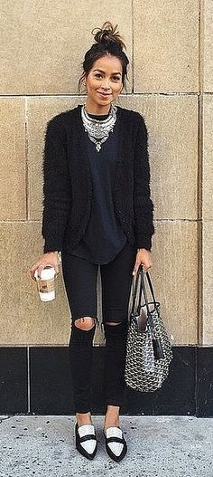 Black Jeans, a Top, and a Sweater with Loafers and a Statement Necklace