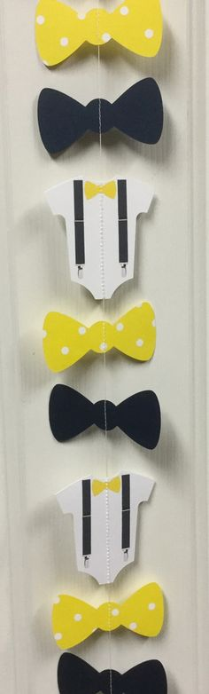 Bow Tie, Suspender Onesie Paper Garland Double-Sided Navy, Yellow and White Polka Dot Streamer, Baby Shower, Birthday Party, Baby Nursery