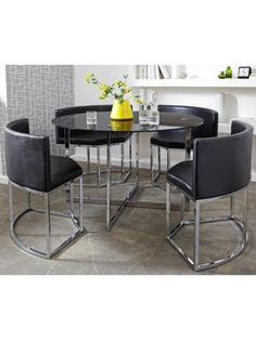 Buy Hygena Milan Space Saver Table And 4 Chairs Black At Your
