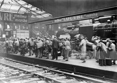 Holiday departure at the 'Gare St Lazare', in July 1929 in Paris, France.