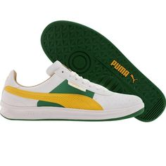 Puma G Vilas L2 Games shoes in white, amazon, and spectra yellow.