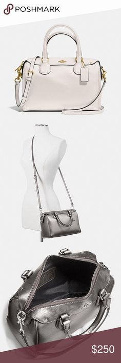 """Mini Bennett Coach Satchel Mini Bennett Coach Satchel in Crossgrain Leather.  Inside zip and multifunction pockets.  Zip-top closure, fabric lining.  Handles with 4"""" drop.  Detachable strap with 23"""" drop for shoulder or crossbody wear.  Dimensions:  9""""(L) x 6 1/2""""(H) x 5""""(W).  Color is Imitation Gold/Chalk Coach Bags"""