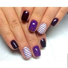 This is cute. I would probably leave off the dark purple, and just have all the nails striped and then do an accent nail with the purple shimmer. Or the other way. Just leave off the dark :-