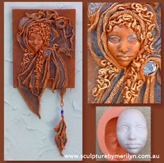 Push mold african face EX4 was used the casting plaster and Paverpol and Fabric