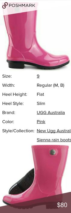 """NWT... Uggs """"Sienna"""" rainboot💧💧 🌻Stay warm/ dry in style! Hot pink Uggs rain boot.OFFERS welcome🌼 Uggs Shoes Winter & Rain Boots"""