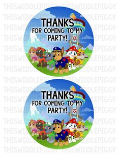 Paw Patrol Frisbee Labels! Perfect for the centers of your frisbee party favors! Www.etsy.com/shop/thiswiddlepiggy