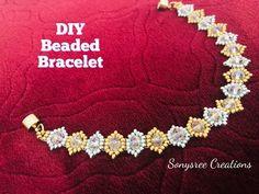 How to make beaded bracelet Making Bracelets With Beads, Seed Bead Bracelets, Silver Bracelets, Beaded Bracelets Tutorial, Handmade Bracelets, Beaded Jewelry, Beaded Necklace, Jewelry Necklaces, Craft Jewelry