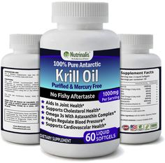 Pure Antarctic Krill Oil 1000 Milligrams/Serving with EPA/DHA and Astaxanthin No Fishy Aftertaste No Mercury, 60 Liquid Softgels Servings) Krill Oil, Cardiovascular Health, Brain Health, Nutritional Supplements, Cholesterol, Healthy Tips, Pure Products, 100 Pure, Mercury