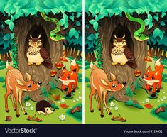 Buy Spot the Differences. by ddraw on GraphicRiver. Spot the differences. Two images with ten changes between them, vector and cartoon illustrations. Funny Games, Different, Cartoon Characters, Fairy Tales, Graphic Design, Bird, Cartoon Illustrations, Animals, Spy