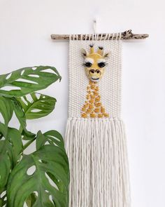 'Baban Jiraf', baby giraffe in Cornish! I had so much fun doing this one, all the little details, even the eyelashes are all… Crochet Wall Hangings, Weaving Wall Hanging, Tapestry Weaving, Wall Tapestry, Diy Bebe, Crochet Decoration, Tiger Cubs, Tiger Tiger, Bengal Tiger