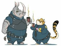 Zootopia: Officer McHorn & Officer Benjamin Clawhauser