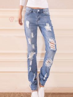 Casual Hollow Low Waist Plus Size Girl's Fashion Denim Pant