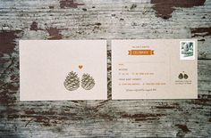 Neutral craft paper invites with pine cone print. Photo: Rachel Thurston