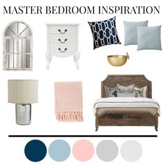 A rustic master bedroom with blues, pinks and grays.