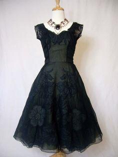 SCHIAPARELLI Couture 1950s Applique Roses Silk Plunge Cocktail Dress