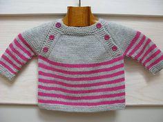Baby Knitting Patterns For Kids Langoz baby sweater pdf knitting pattern French & English Baby Knitting Patterns, Knitting For Kids, Baby Patterns, Crochet Patterns, Knitting Stitches, Crochet Baby, Knit Crochet, Pull Bebe, Knit Baby Sweaters