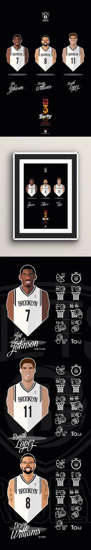#NBA #players #NETS #Brooklyn #vector face Big Men Big 3 #playoffs sport basketball illustration #DWill #Lopez #JoeJonhson
