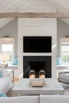 Beautiful Coastal Style Living Room Pictures & Ideas Good coastal living room sets to refresh your home living room Fresh Living Room, Coastal Living Rooms, Living Room Grey, Interior Design Living Room, Living Room Decor, Beach House Signs, Beach House Decor, Living Room Turquoise, Living Room Photos