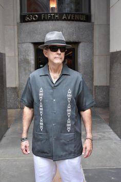cf8ad8fec6 Cuban Retro Casual Shirt Embroidered Charcoal D Accord 2261