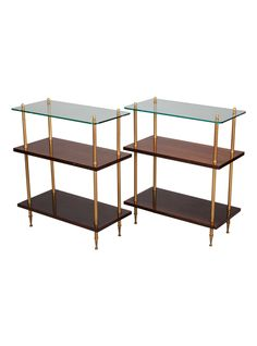 Circa 1970s pair of side tables have brass legs and supports, two lower shelves of walnut and glass table tops. | TheHighBoy | #highboystyle #antiquesmakeitbetter #antiques #vintage