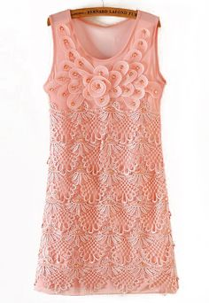 Pink Sleeveless Applique Hollow Lace Dress