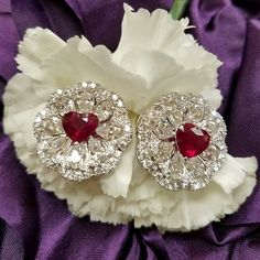 The most beautiful hearts for your sweet heart. Nila and luna Ruby Earrings, Ruby Jewelry, Ear Jewelry, High Jewelry, Pandora Jewelry, Luxury Jewelry, Stone Jewelry, Princess Jewelry, Diamond Tops