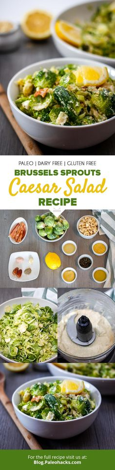 Switch up your Caesar salad with Brussels sprouts, cashew parmesan, and crispy bacon! Cheesy, zesty, and bursting with bits of savory bacon in every bite. Paleo Salad Recipes, Salad Dressing Recipes, Cooking Recipes, Healthy Recipes, Paleo Meals, Whole30 Recipes, Delicious Recipes, Paleo Dairy, Dairy Free